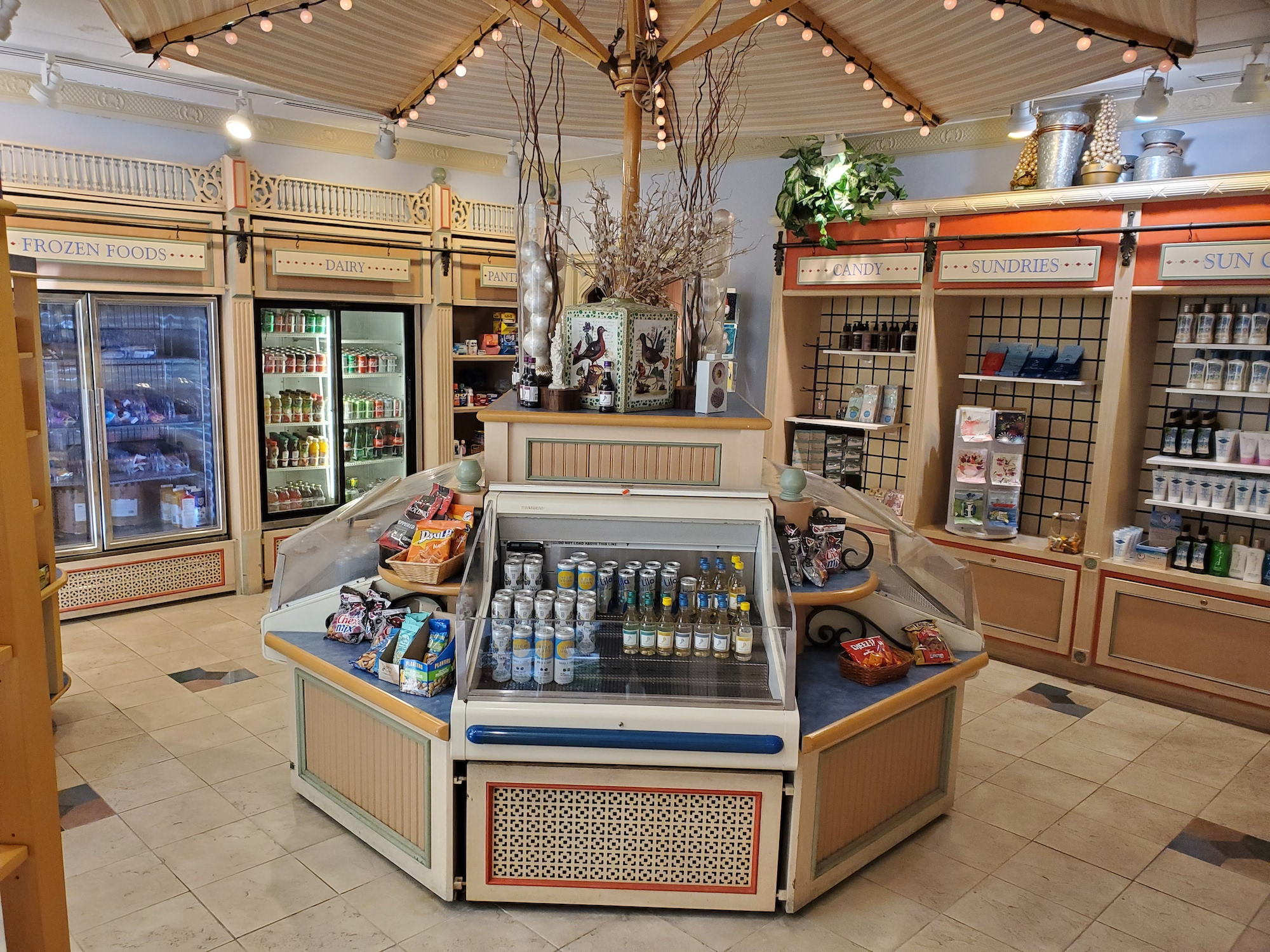 lago mar soda shop interior cheese display umbrella
