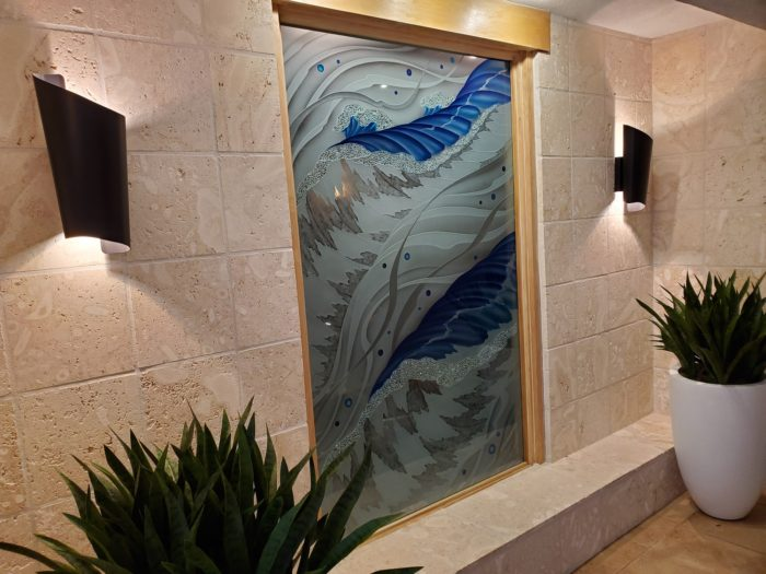 new stained glass window lago mar spa