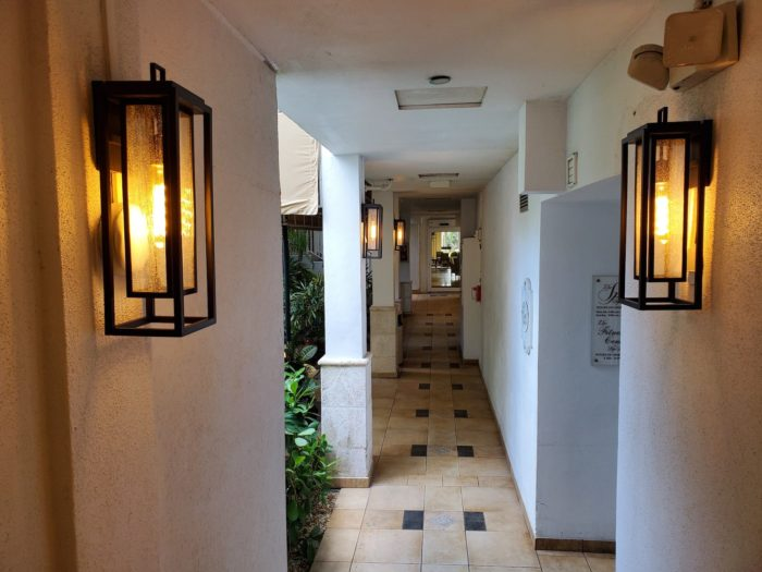 lantern sconce lights in spa hallway
