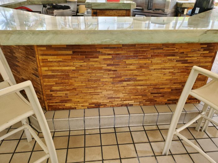 promenade bar stained under counter