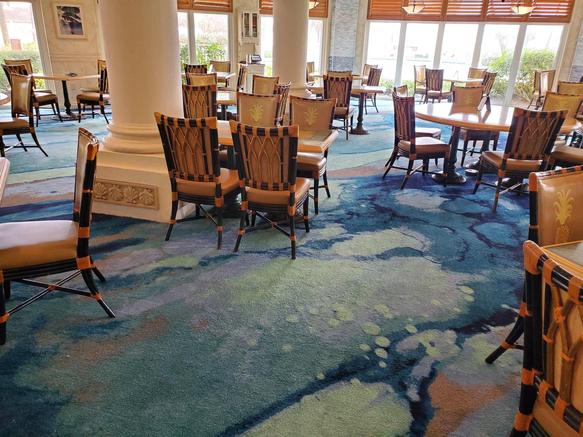 new blue carpet lago mar resort restaurant lounge