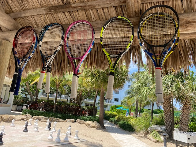 regripping tennis rackets at lago mar towel hut