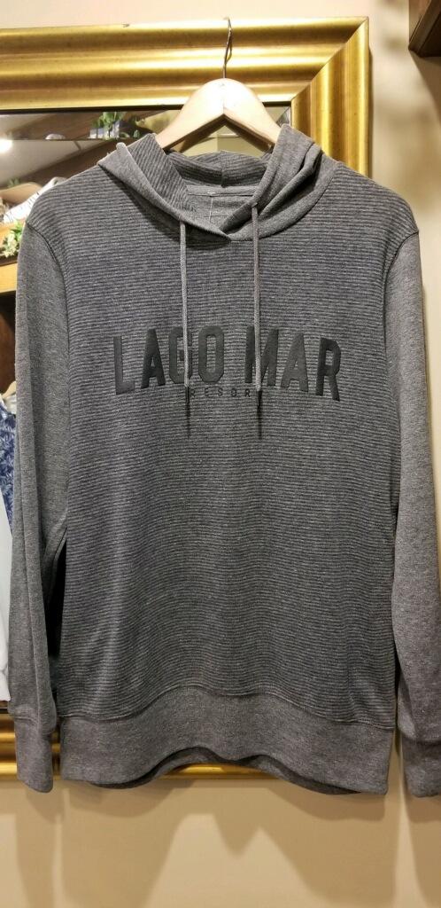 grey mens lago mar logo hoodie