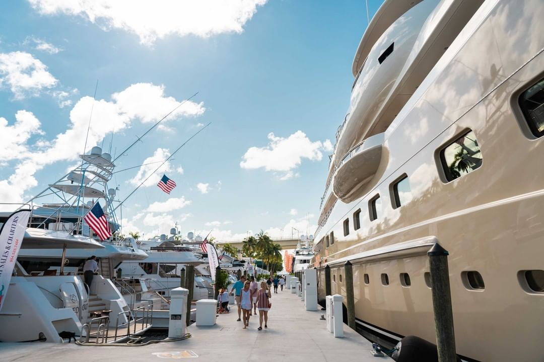 photo from @flibsofficial fort lauderdale international boat show docks people