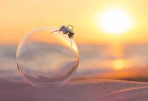 christmas ornament on beach